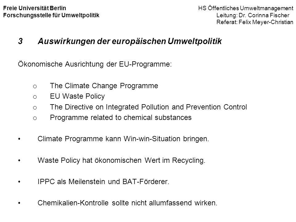Auswirkungen der europäischen Umweltpolitik