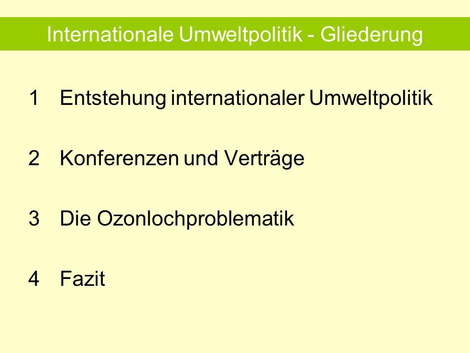 Internationale Umweltpolitik - Gliederung