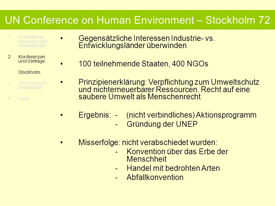 UN Conference on Human Environment – Stockholm 72
