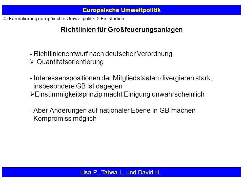 - Richtlinienentwurf nach deutscher Verordnung Quantitätsorientierung