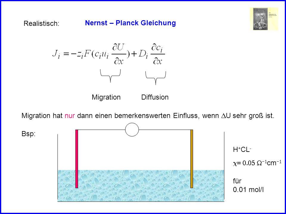 Realistisch: Nernst – Planck Gleichung. Migration. Diffusion. Migration hat nur dann einen bemerkenswerten Einfluss, wenn DU sehr groß ist.