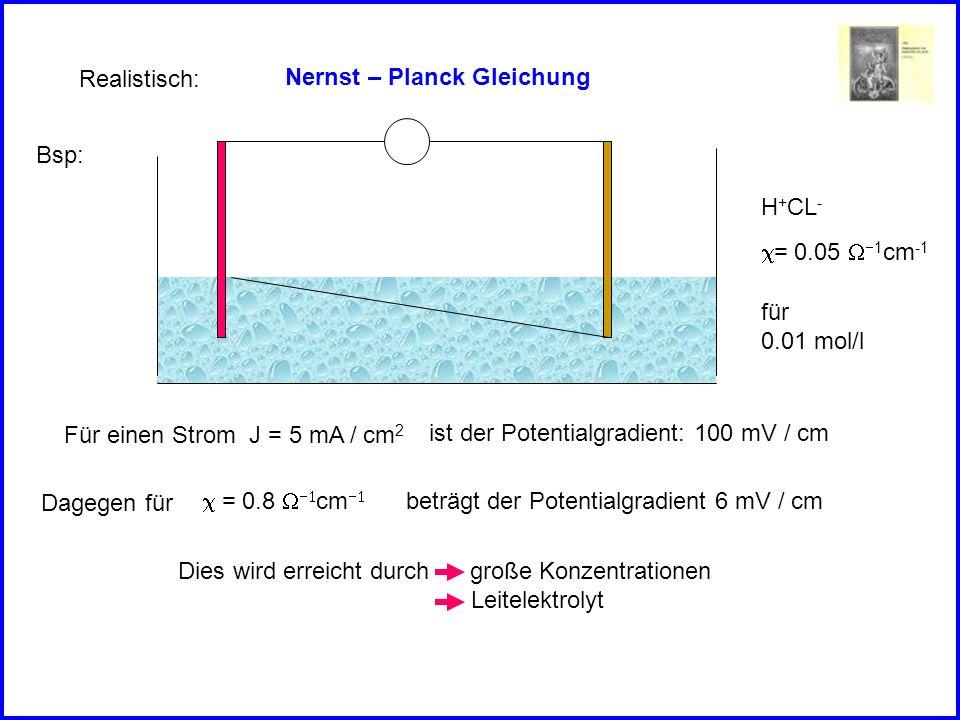 Realistisch: Nernst – Planck Gleichung. Bsp: H+CL- c= 0.05 W-1cm-1. für. 0.01 mol/l. Für einen Strom J = 5 mA / cm2.