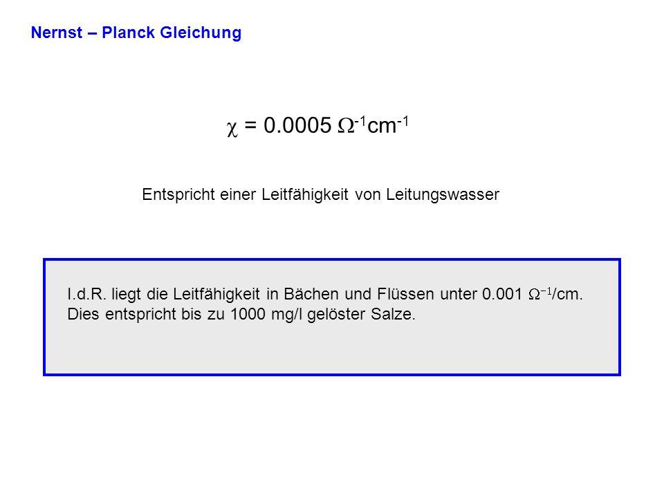 c = 0.0005 W-1cm-1 Nernst – Planck Gleichung