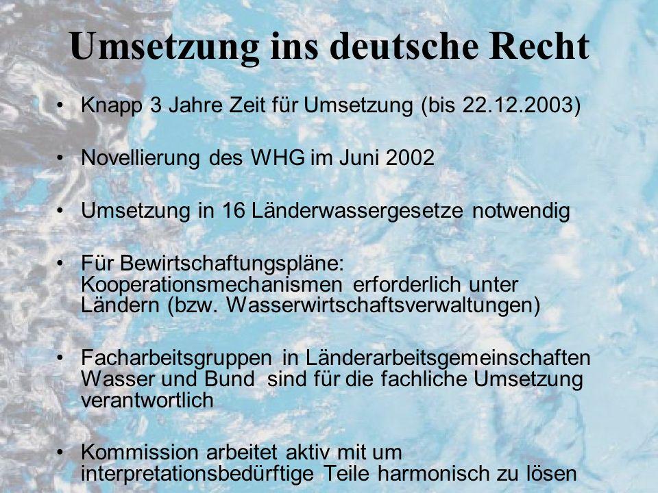 Umsetzung ins deutsche Recht