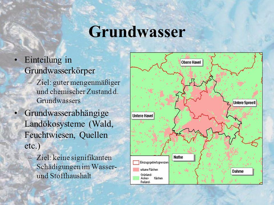 Grundwasser Einteilung in Grundwasserkörper