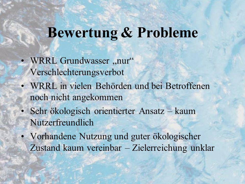 """Bewertung & Probleme WRRL Grundwasser """"nur Verschlechterungsverbot"""