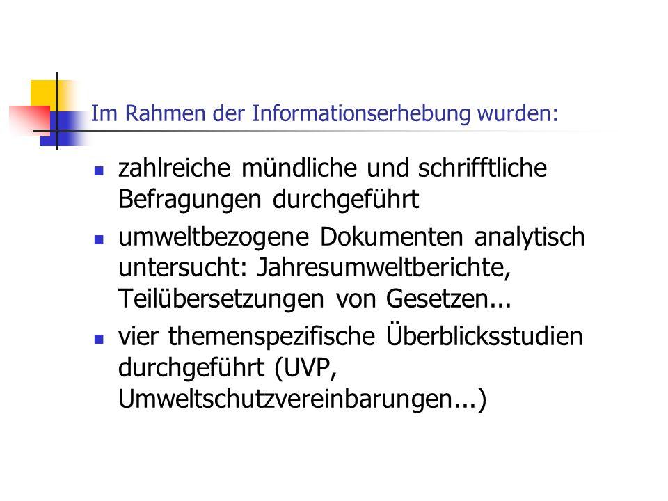 Im Rahmen der Informationserhebung wurden: