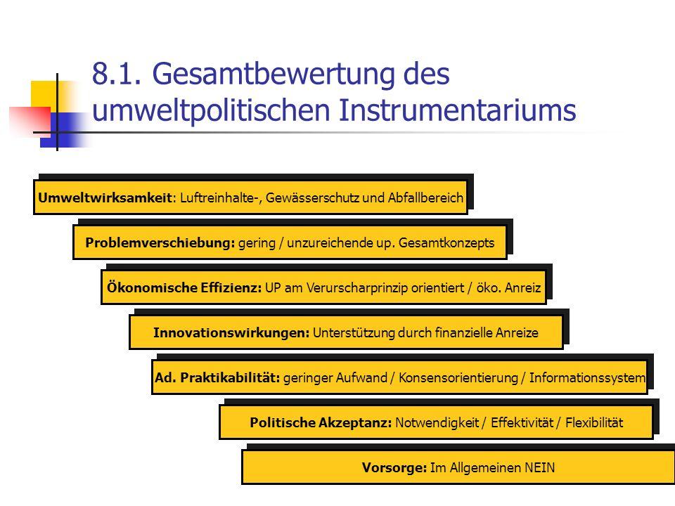 8.1. Gesamtbewertung des umweltpolitischen Instrumentariums