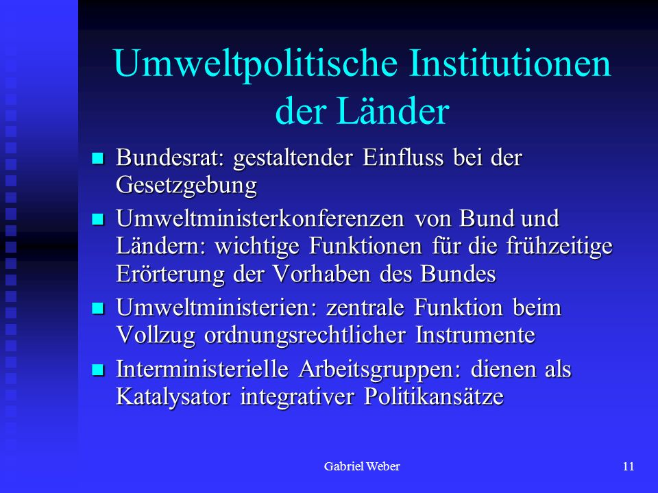 Umweltpolitische Institutionen der Länder