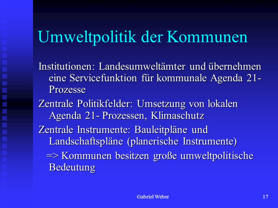 Umweltpolitik der Kommunen