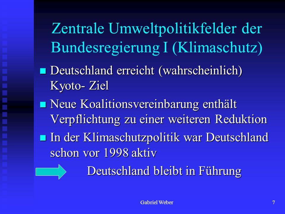 Zentrale Umweltpolitikfelder der Bundesregierung I (Klimaschutz)