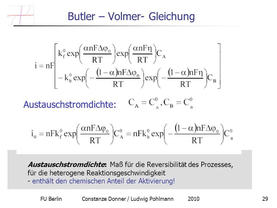 Butler – Volmer- Gleichung