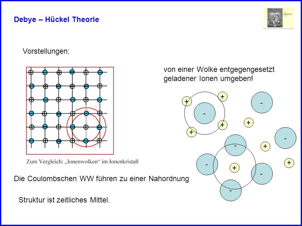 Debye – Hückel TheorieVorstellungen: von einer Wolke entgegengesetzt. geladener Ionen umgeben! + - +