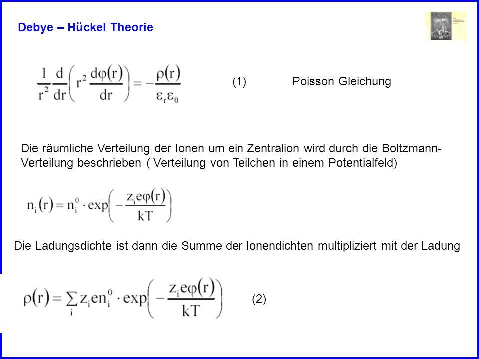 Debye – Hückel Theorie (1) Poisson Gleichung. Die räumliche Verteilung der Ionen um ein Zentralion wird durch die Boltzmann-
