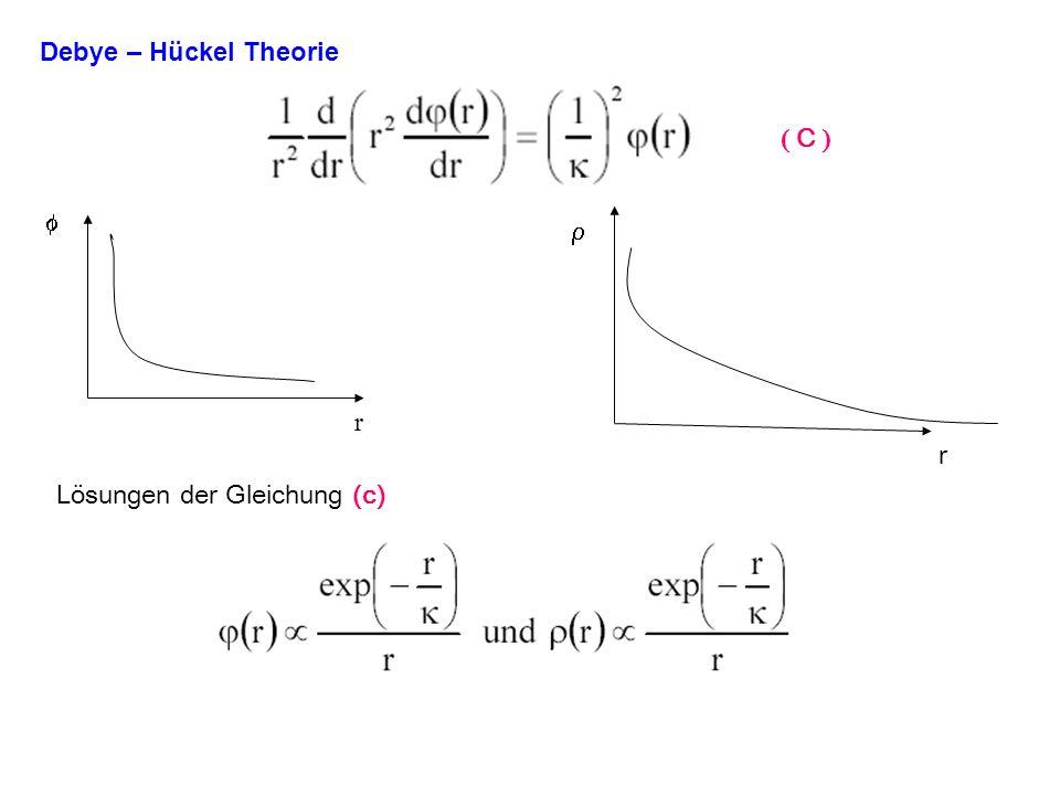 Debye – Hückel Theorie ( C ) f r r r Lösungen der Gleichung (c)