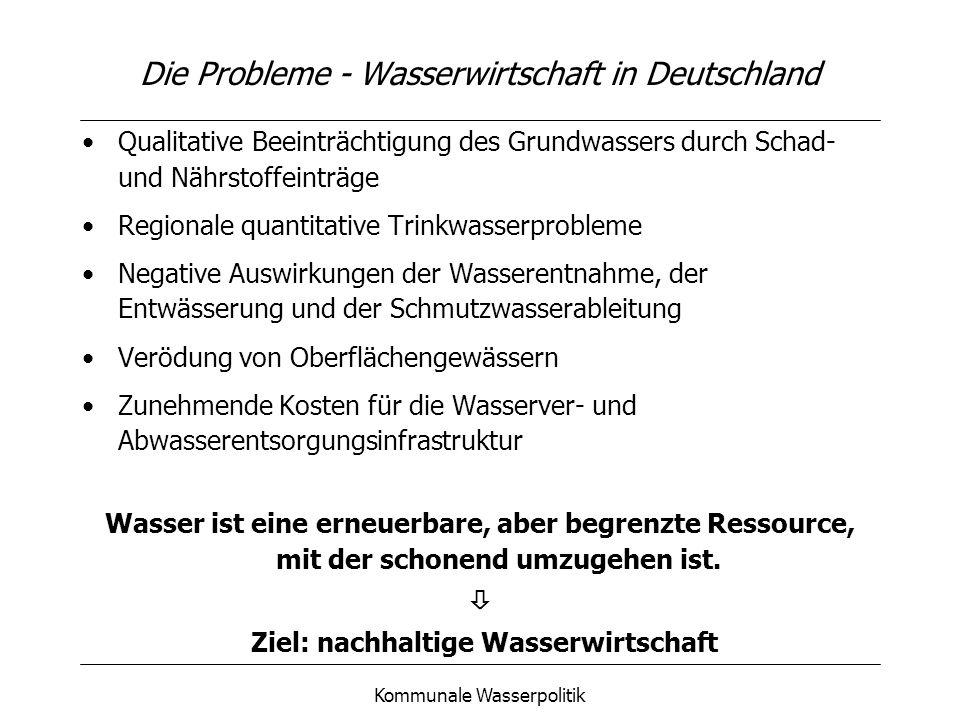 Die Probleme - Wasserwirtschaft in Deutschland