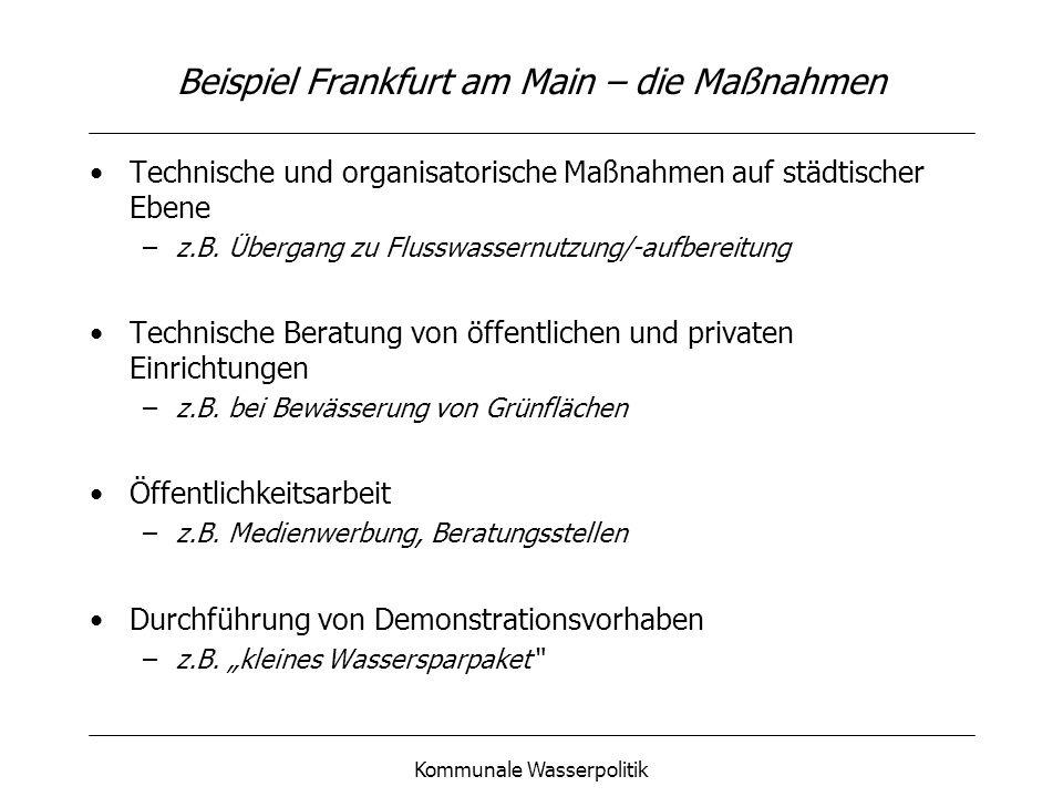Beispiel Frankfurt am Main – die Maßnahmen
