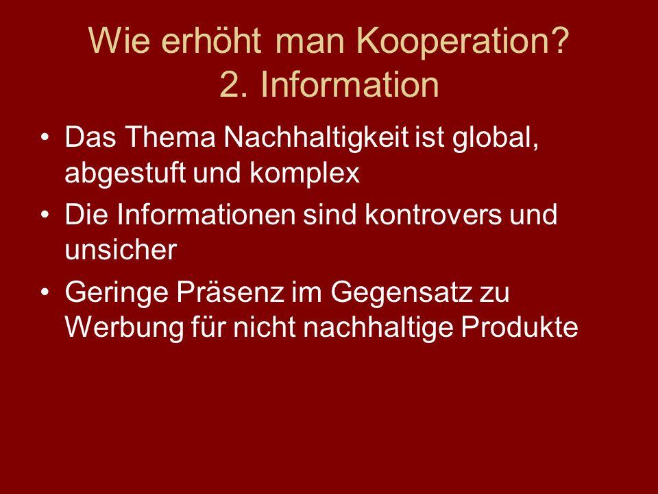 Wie erhöht man Kooperation 2. Information