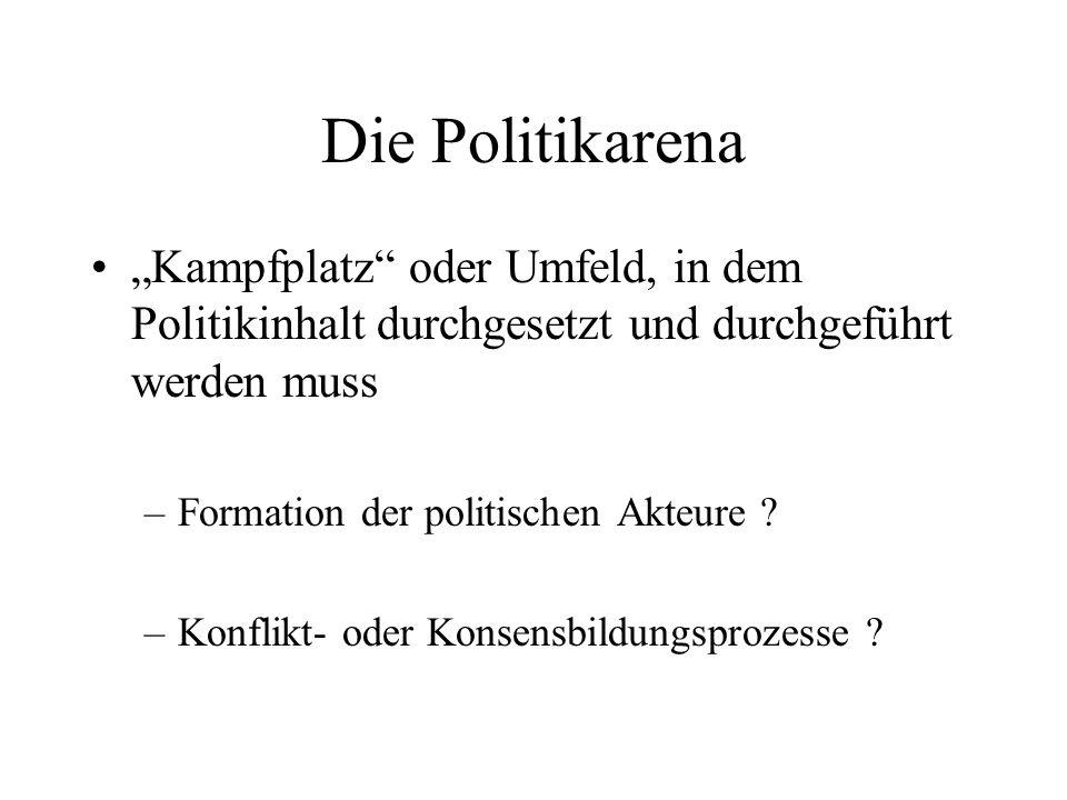 """Die Politikarena""""Kampfplatz oder Umfeld, in dem Politikinhalt durchgesetzt und durchgeführt werden muss."""