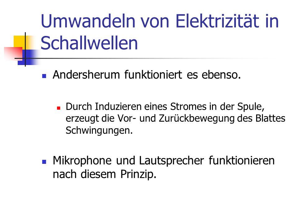 Umwandeln von Elektrizität in Schallwellen