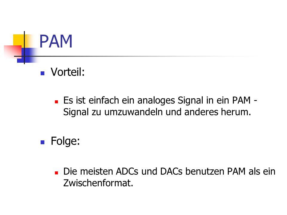 PAM Vorteil: Es ist einfach ein analoges Signal in ein PAM - Signal zu umzuwandeln und anderes herum.