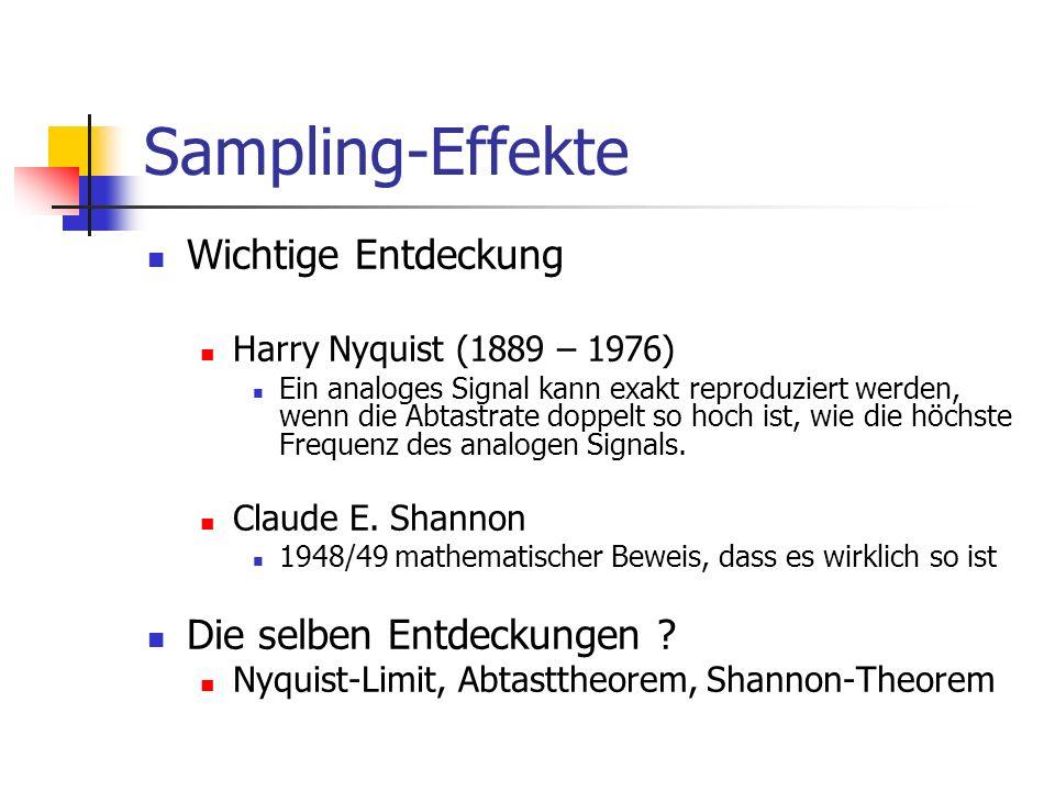 Sampling-Effekte Wichtige Entdeckung Die selben Entdeckungen