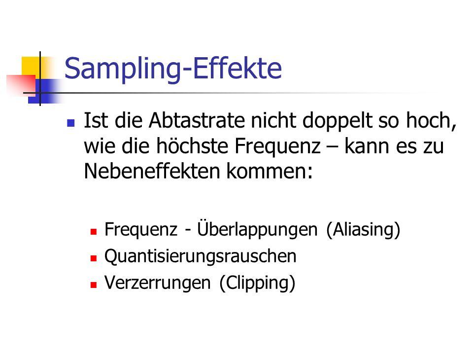 Sampling-Effekte Ist die Abtastrate nicht doppelt so hoch, wie die höchste Frequenz – kann es zu Nebeneffekten kommen: