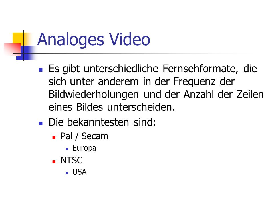 Analoges Video