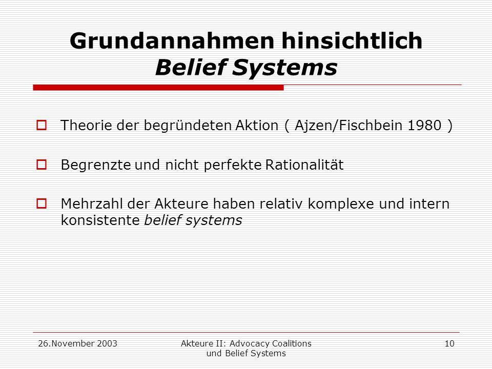 Grundannahmen hinsichtlich Belief Systems