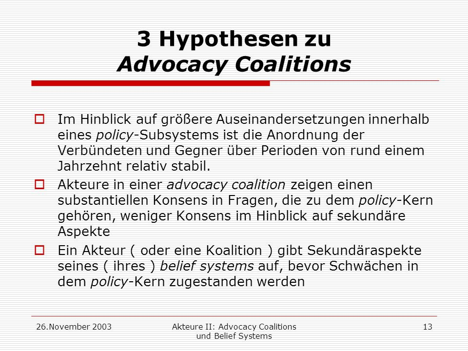 3 Hypothesen zu Advocacy Coalitions