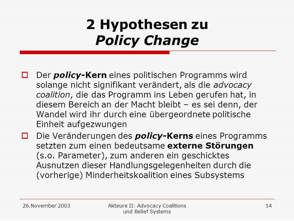 2 Hypothesen zu Policy Change