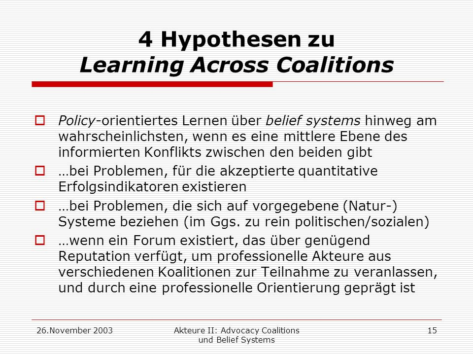 4 Hypothesen zu Learning Across Coalitions