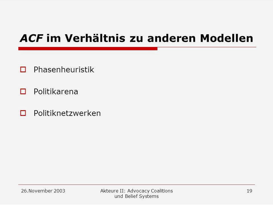 ACF im Verhältnis zu anderen Modellen