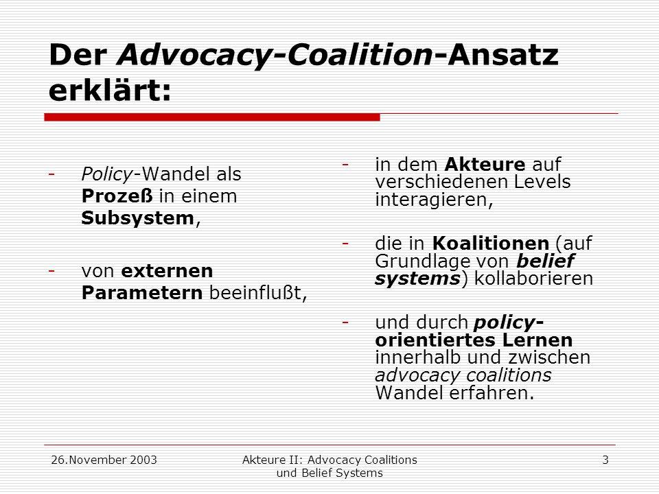 Der Advocacy-Coalition-Ansatz erklärt: