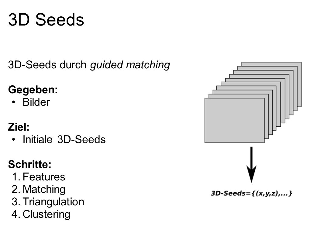 3D Seeds 3D-Seeds durch guided matching Gegeben: Bilder Ziel: