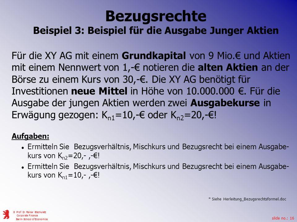 Beispiel 3: Beispiel für die Ausgabe Junger Aktien