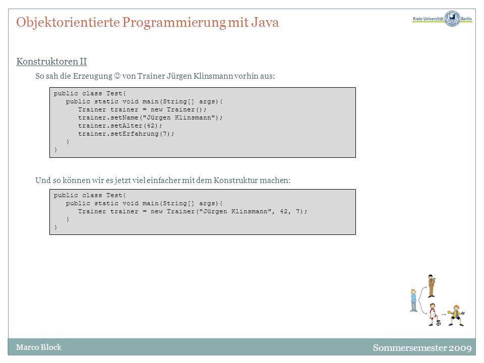 Objektorientierte Programmierung mit Java Konstruktoren II
