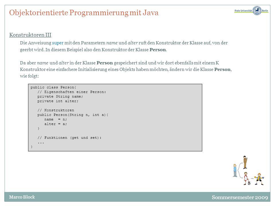 Objektorientierte Programmierung mit Java Konstruktoren III