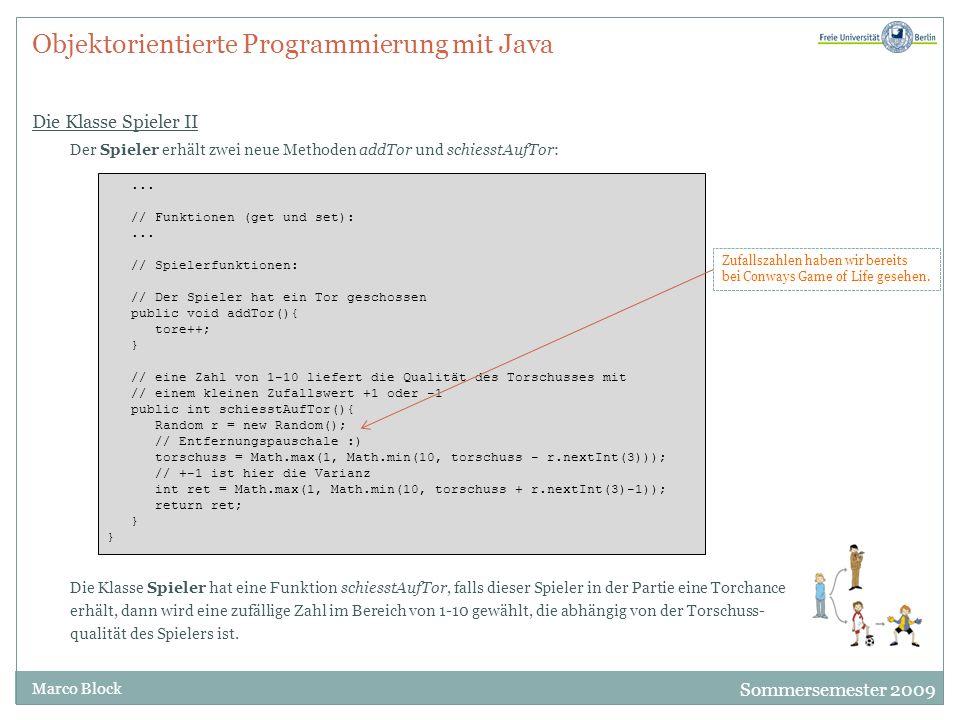 Objektorientierte Programmierung mit Java Die Klasse Spieler II