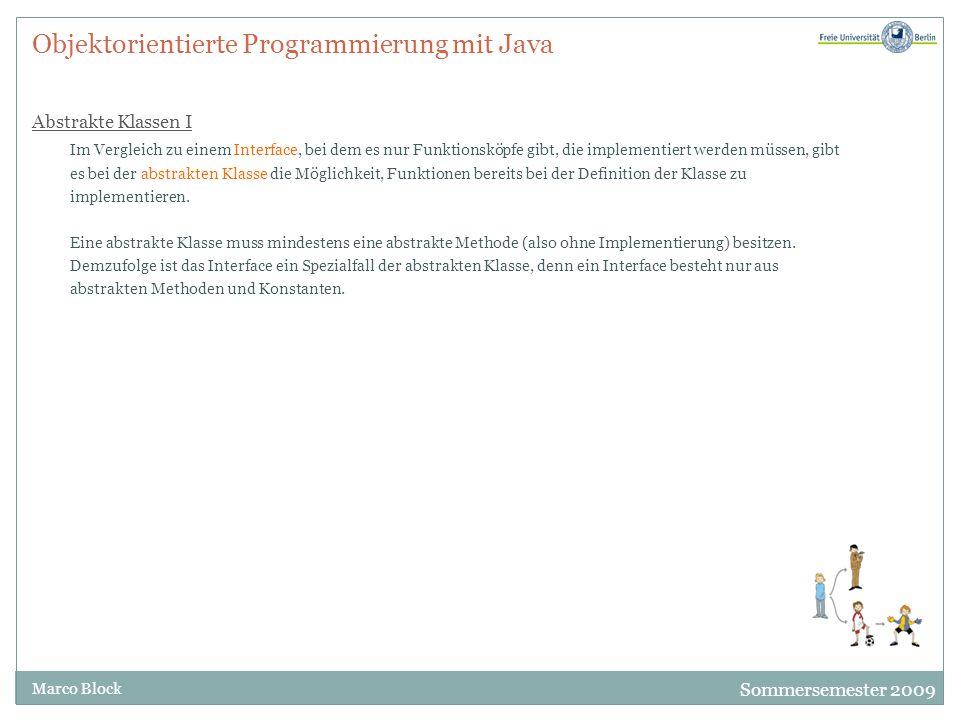 Objektorientierte Programmierung mit Java Abstrakte Klassen I