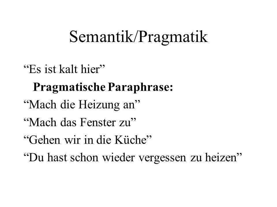 Semantik/Pragmatik Es ist kalt hier Pragmatische Paraphrase: