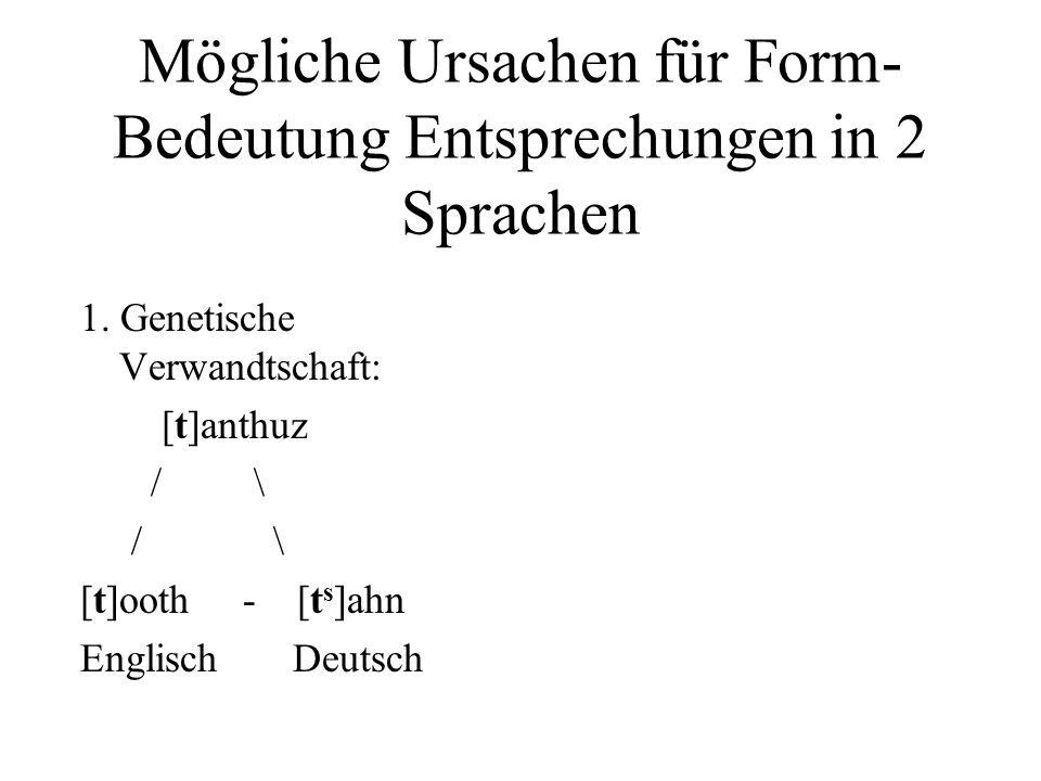 Mögliche Ursachen für Form-Bedeutung Entsprechungen in 2 Sprachen