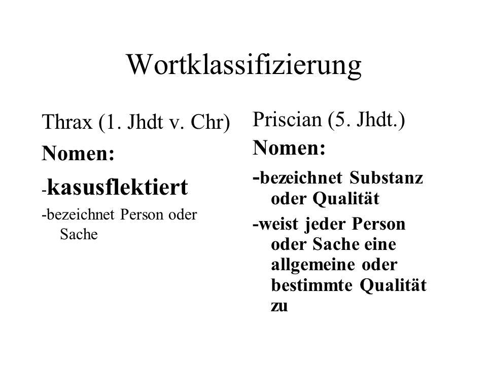 Wortklassifizierung Thrax (1. Jhdt v. Chr) Nomen: Priscian (5. Jhdt.)