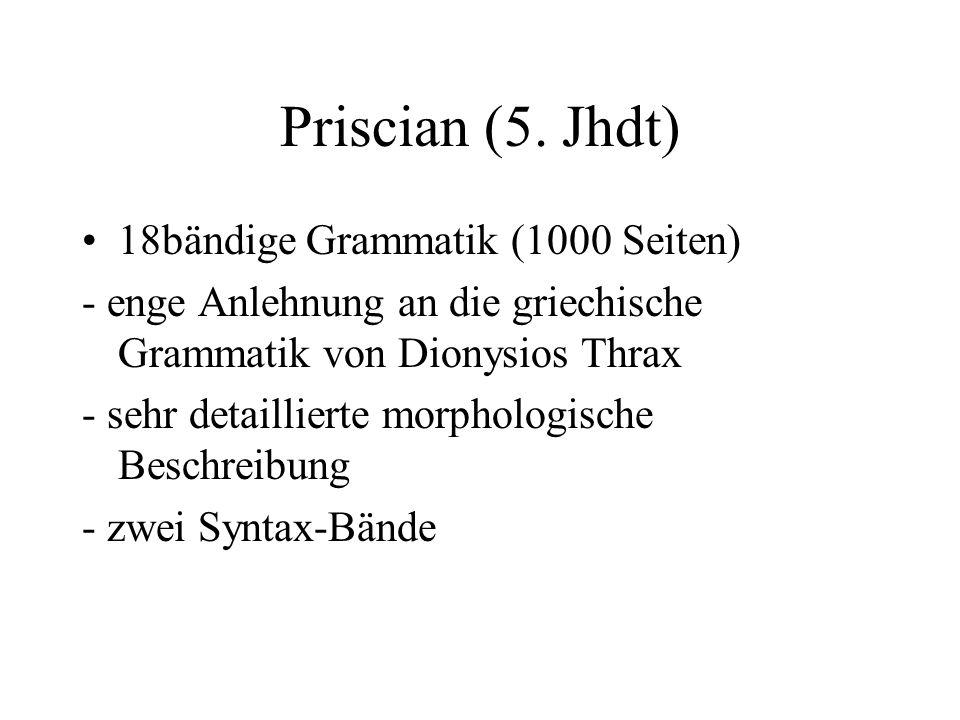 Priscian (5. Jhdt) 18bändige Grammatik (1000 Seiten)