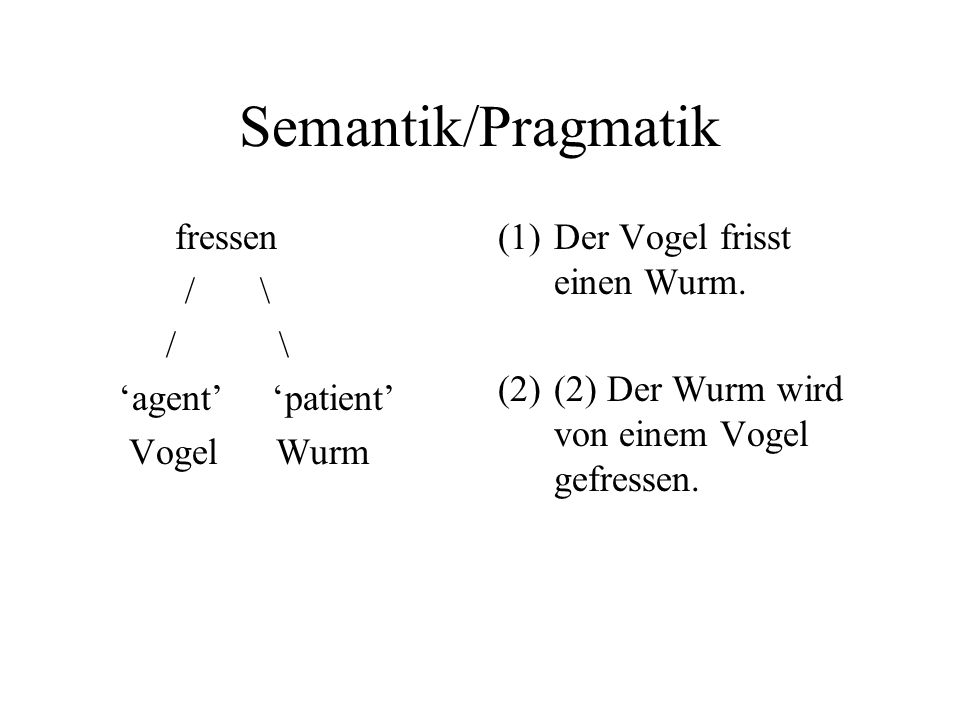 Semantik/Pragmatik fressen / \ / \ 'agent' 'patient' Vogel Wurm