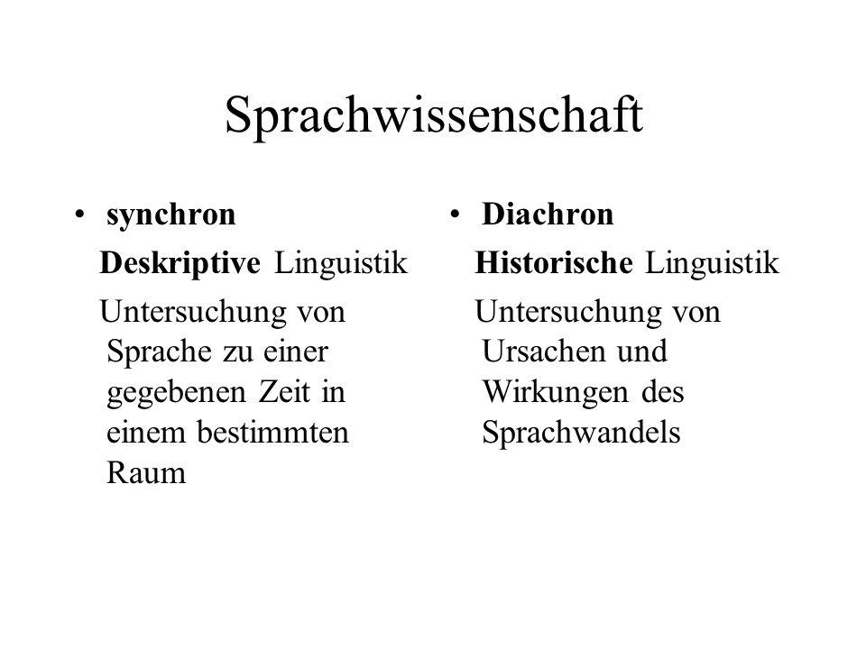 Sprachwissenschaft synchron Deskriptive Linguistik
