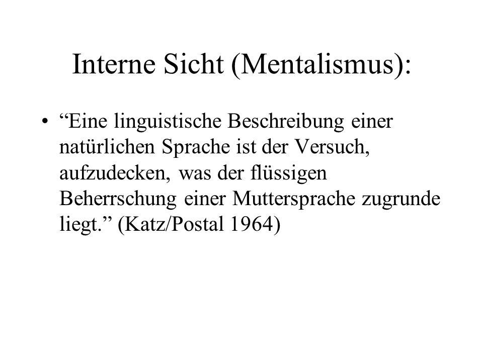 Interne Sicht (Mentalismus):
