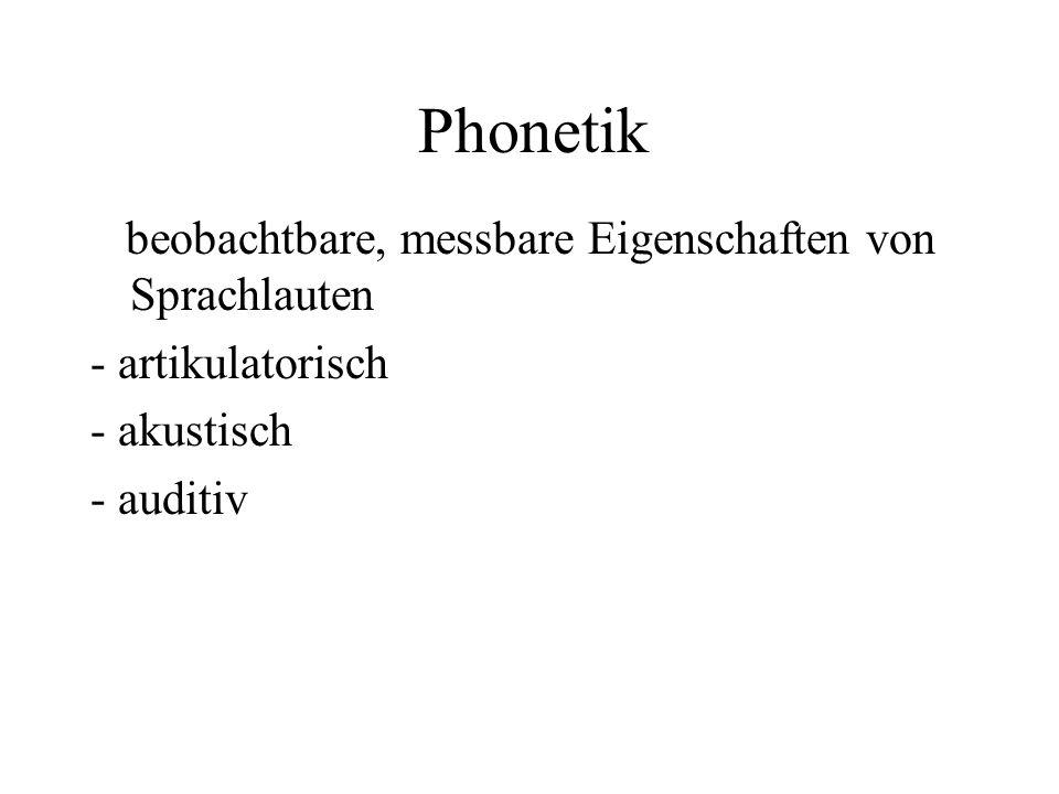 Phonetik beobachtbare, messbare Eigenschaften von Sprachlauten