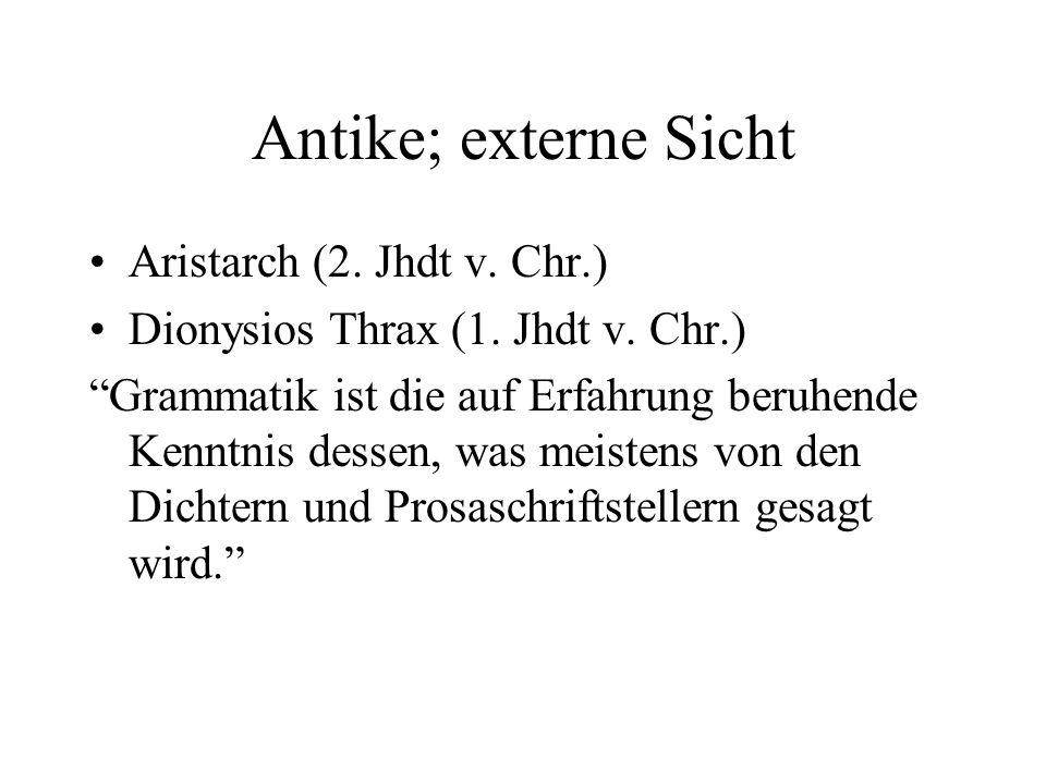 Antike; externe Sicht Aristarch (2. Jhdt v. Chr.)