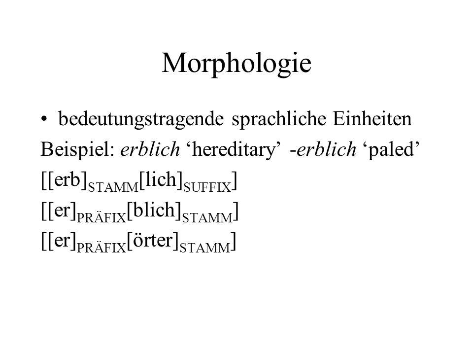 Morphologie bedeutungstragende sprachliche Einheiten